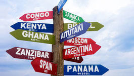 Wegweiser aus Holz mit Ländernamen