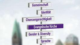 Schild mit Aufschriften: Identität, Gender & Diversity, Chancengerechtigkeit, Beruf und Familie, Sprache ...