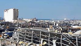 Zerstörter Hafen in Beirut