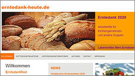 Screenshot der Webseite erntedank-heute.de