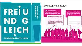 "Ausschnitt aus der Broschüre zur Ausstellung ""Menschen. Rechte. Leben"