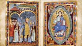 Doppelseite aus dem Perikopenbuch Heinrichs III. Die Handschrift entstand zwischen 1039 und 1043