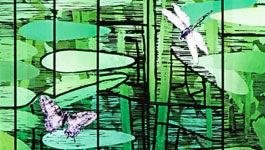 Ausschnitt aus einem Spitzbogenfenster (Der Garten) von Sebastian Pless.