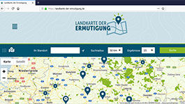 "Screen der Website"" Landkarte der Ermutigung"