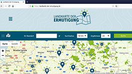 """Screen der Website"""" Landkarte der Ermutigung"""
