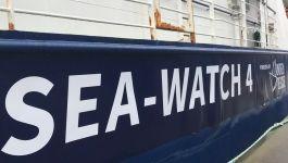 Rumpf des Rettungsschiffes Seawatch 4