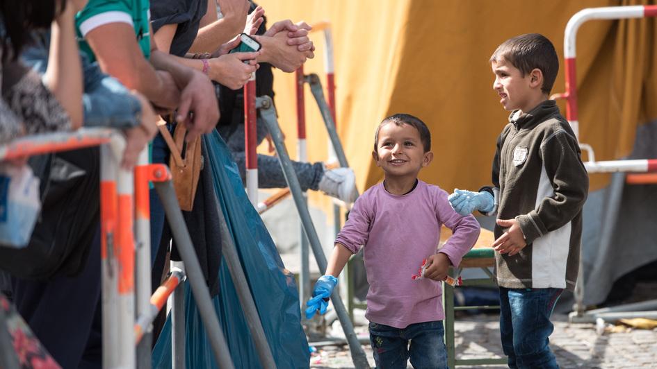 Flüchtlingskinder am Münchener Hauptbahnhof