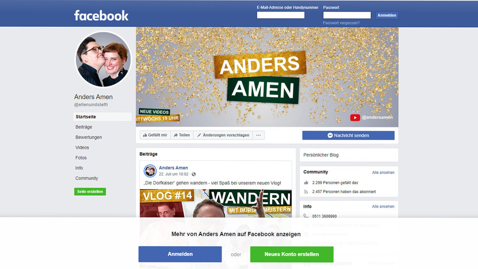 "Screenshot: Youtube-Kanal ""Anders Amen'"