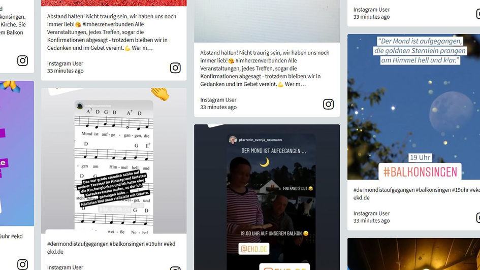 Screenshot Social Media Wall zum Thema Balkonsingen
