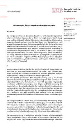 Cover Positionspapier der EKD zum christlich-islamischen Dialog
