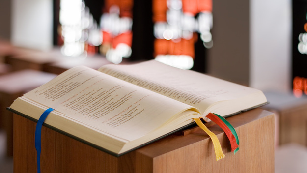 Bible on a lectern in a church.