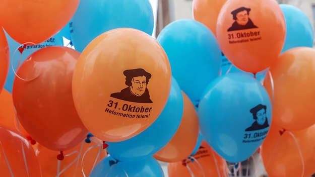 Colorful balloons with the portrait of Martin Luther.