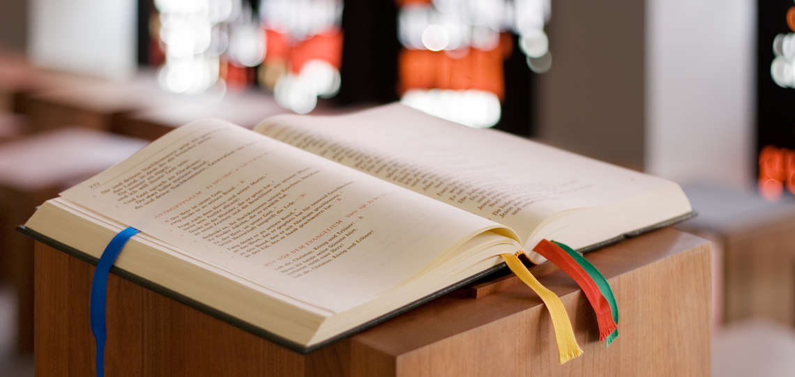 Open bible on altar.