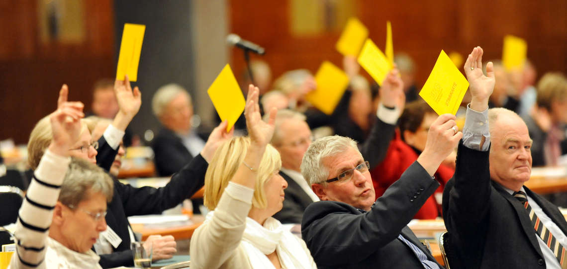 Vote at a plenary sessions of the synode of the Evangelical Church in Germany (EKD).